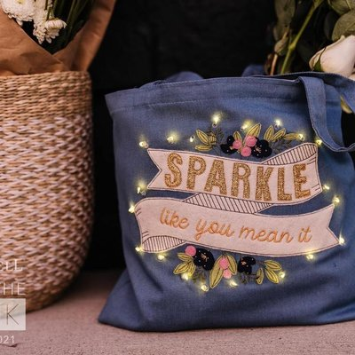 Kimberbell Fill in the Blank- January 2021- Sparkle Like You Mean It Chambray Tote Bag