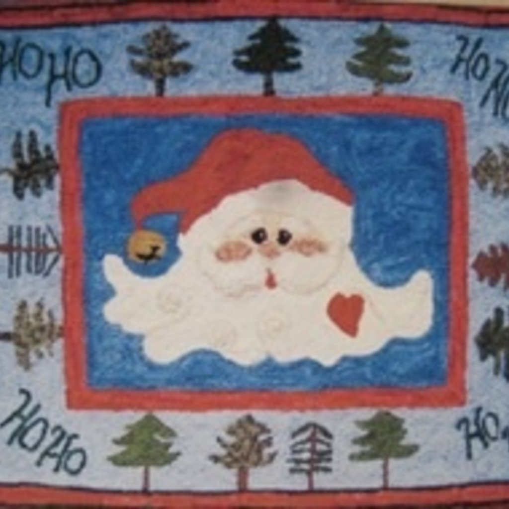Jingle Bell Santa Hooked Rug