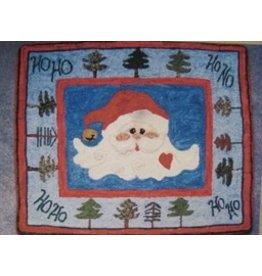 Jingle Bell Santa Hooked Rug