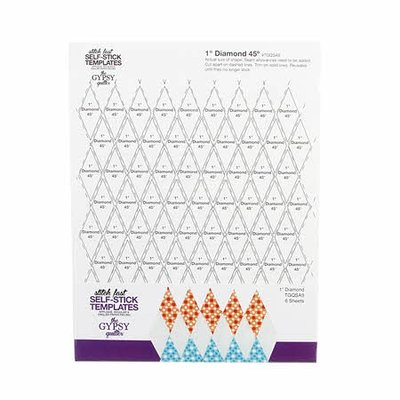 "Gypsy Quilter Stitch Fast Self-Stick Template 1"" Diamond"