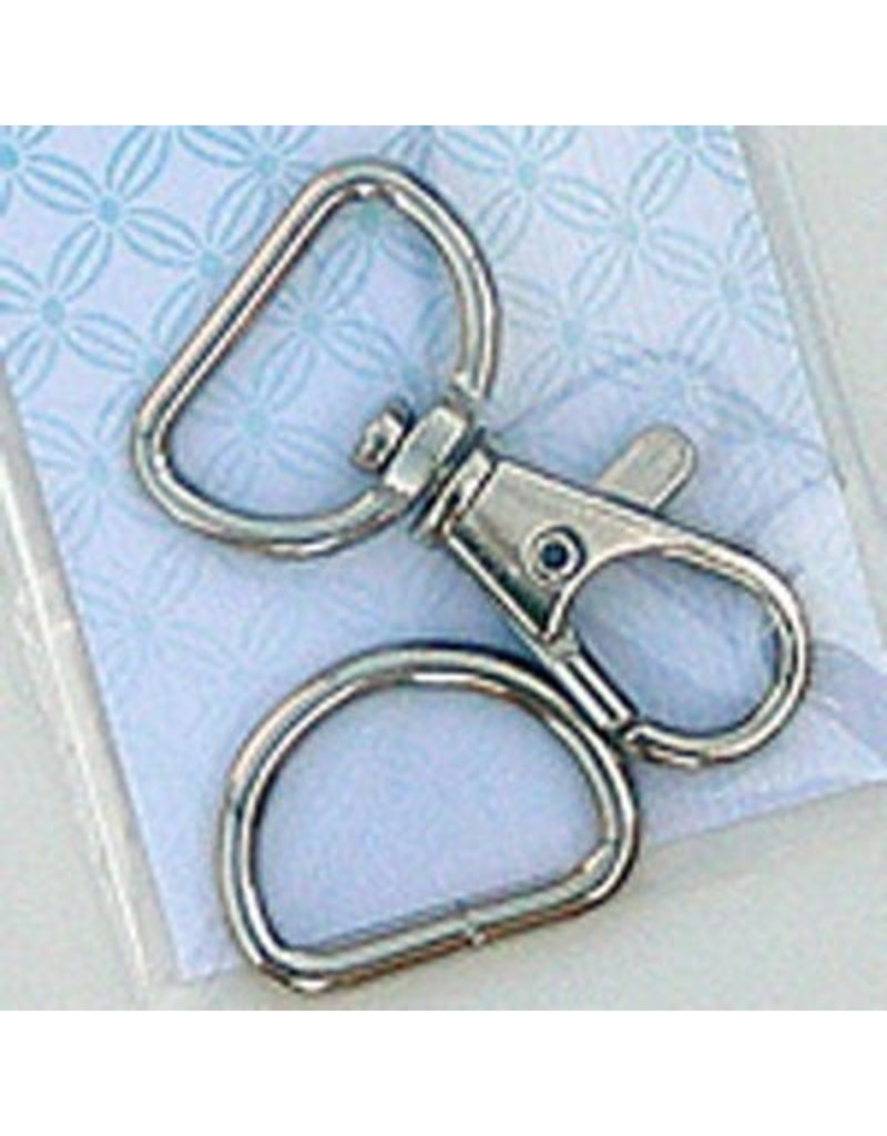 3/4 inch Swivel Hook and D Ring-Nickel