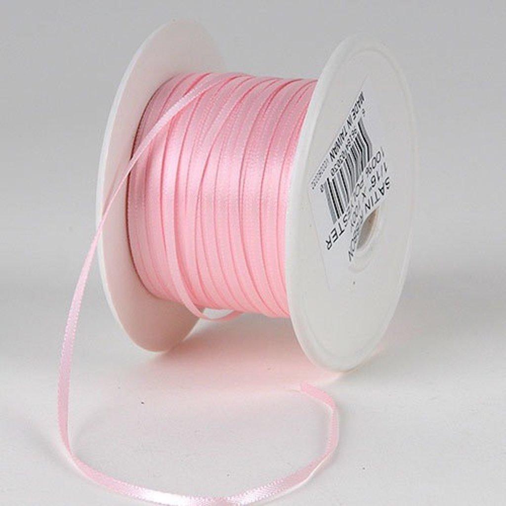 1/8 Inch Silk Satin Ribbon by the yard- Pink
