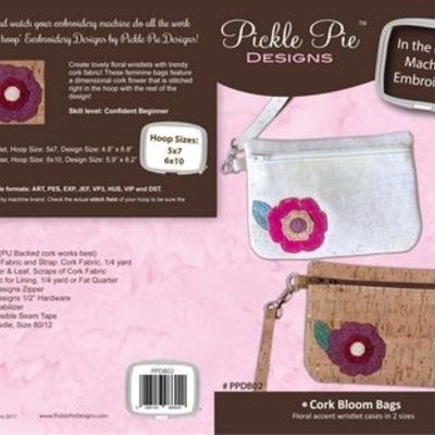 Cork Bloom Bag In the Hoop Embroidery Design