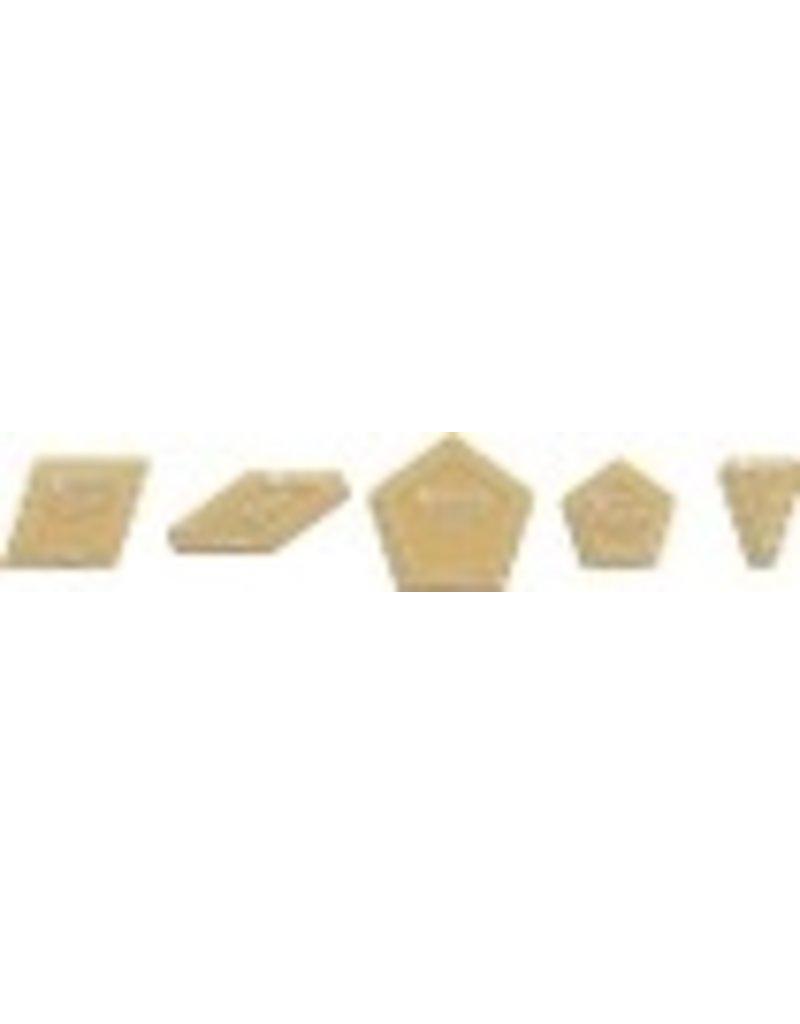 "Acrylic Fabric Cutting Template: La Passacaglia (5 Piece Set) With 1/4"" Seam Allowance"