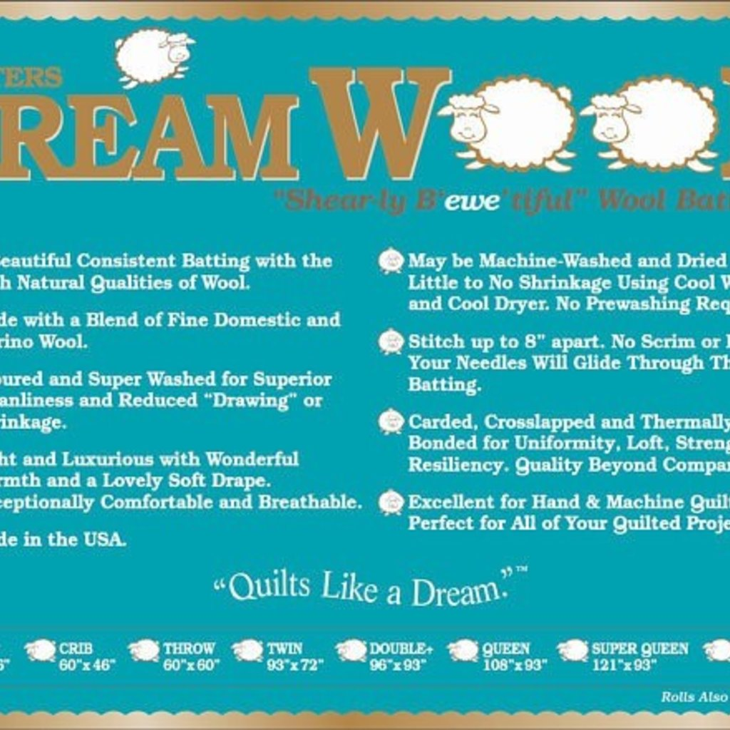 Dream Wool Batting-Twin