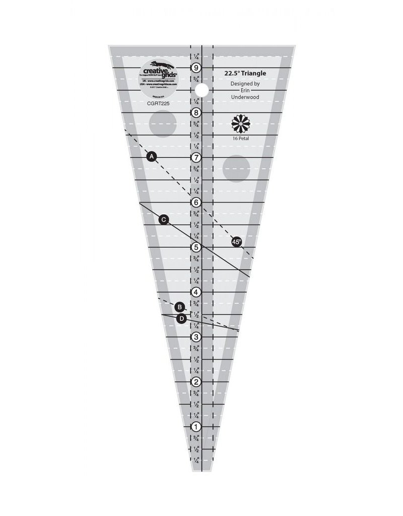 Creative Grids 22-1/2 Degree Triangle Ruler