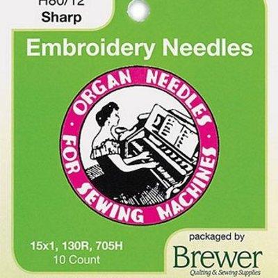 Organ Titanium Needles 10 Pack- 80/12 Sharp