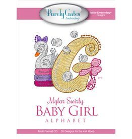Mylar Swirly Baby Girl Alphabet Design Pack