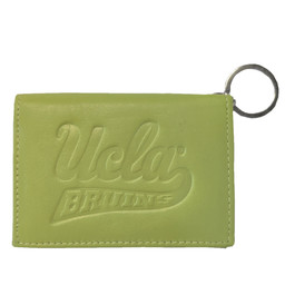 Carolina Sewn Bag & Leather UCLA script Leather ID Holder Snap Sprout
