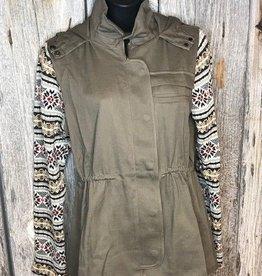 Olive Jacquard Sleeve Utility Jacket