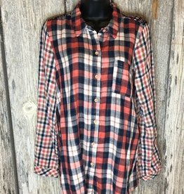 Mix Media Button Down Shirt Rust/Navy
