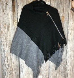 Big Zipper Point Oblong Scarf Poncho