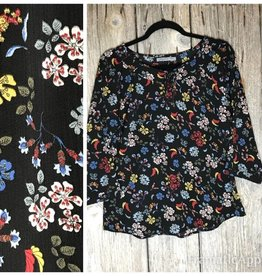 3/4 Sleeve Black Floral Blouse