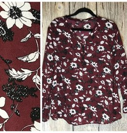 V-Neck Burgundy Floral Blouse