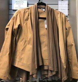 Camel Terry Ruffle Biker Jacket