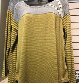 Mustard/Grey Mixed Stripe Top