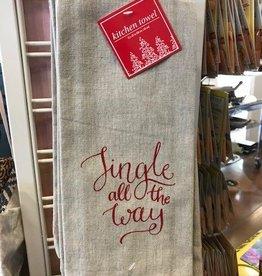 Christmas Cheer Saying Tea Towel Asst