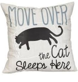 """Move Over the Cat Sleeps Here 18"""" Pillow"""