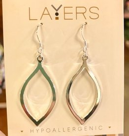Silver Oval Dangle Layers Earrings