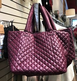 Medium Quilted Nylon Tote Berry