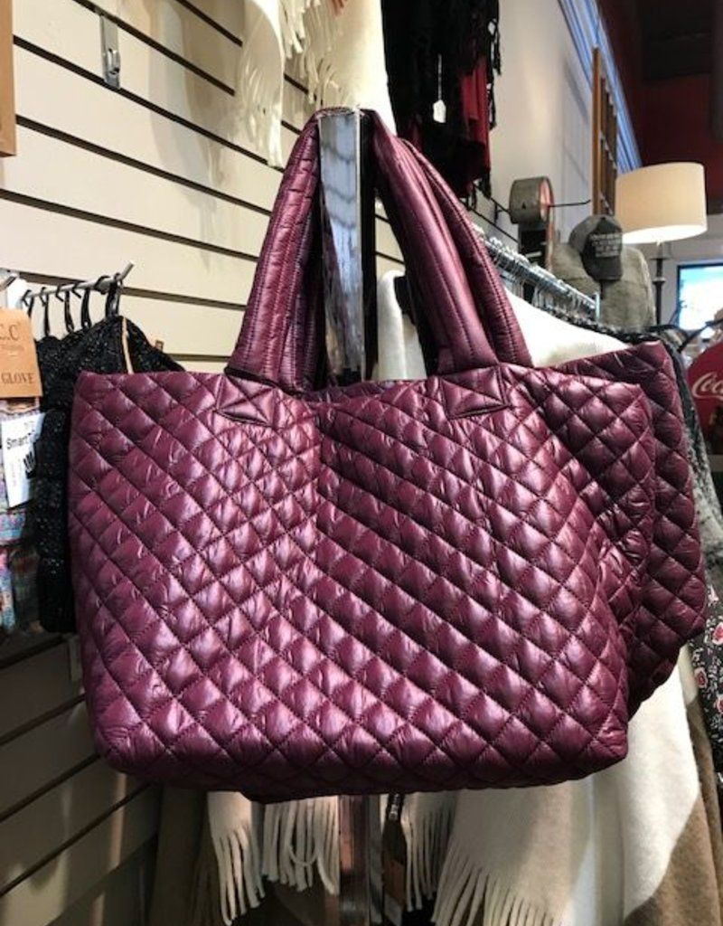 163fa9acc4a Medium Quilted Nylon Tote Berry All Seasons Fl Gifts