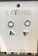 Silver Circle & Granite Triangle Stud Duo Pair Stud Layers Earrings