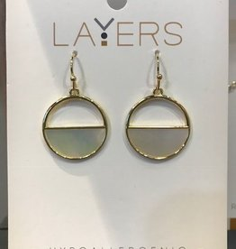 Gold Half Stone Circle Dangle Layers Earrings