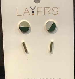 Gold Round Stone & Duo Pair Stud Layers Earrings