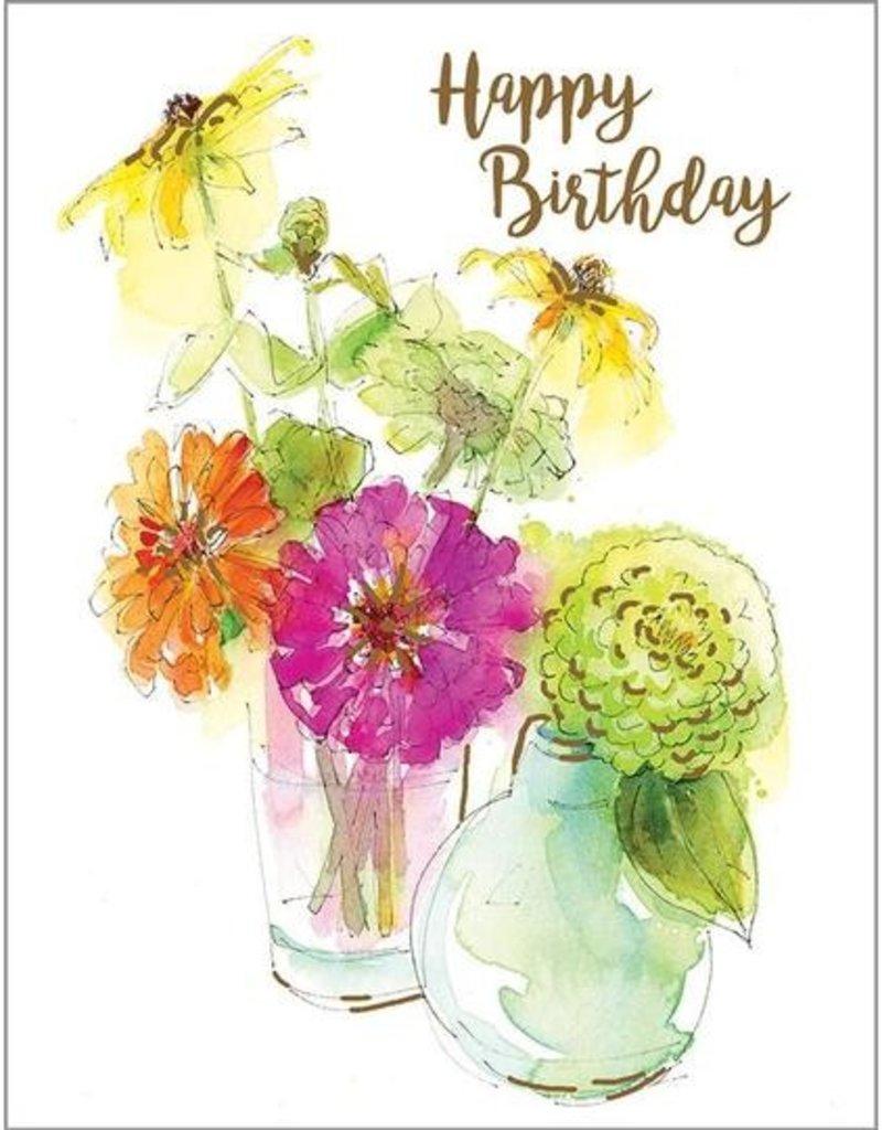 Birthday Zinnia Vases Card