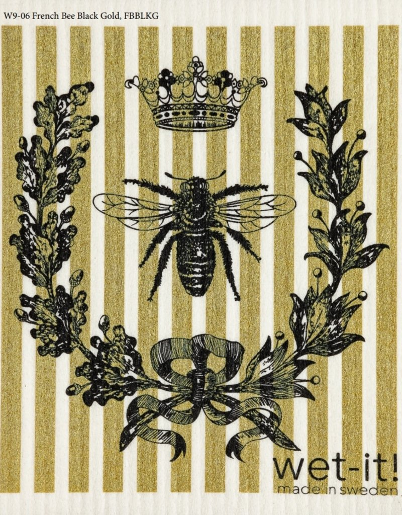 French Bee Black & Gold Swedish Cloth
