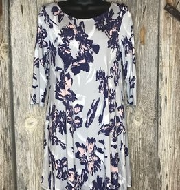 Gray/Navy A Line Swing Dress