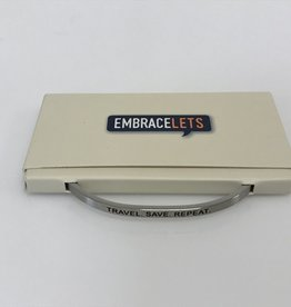 "Embracelets ""Travel. Save. Repeat."" Embracelet Silver"