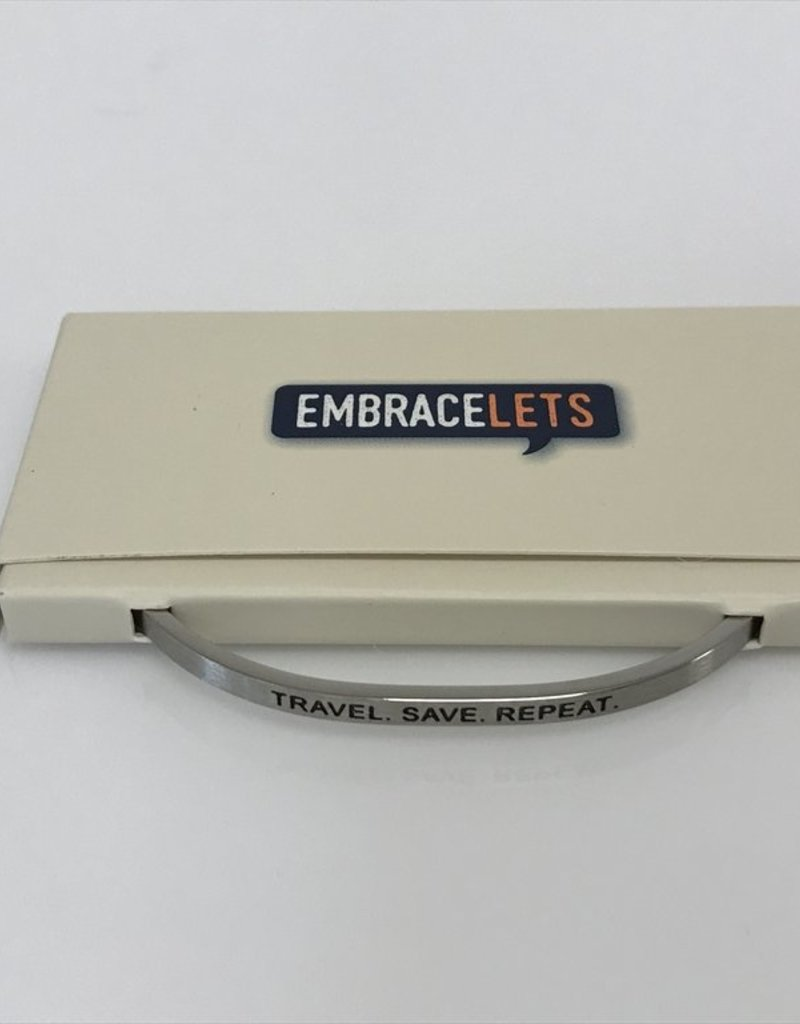 """Travel. Save. Repeat."" Embracelet Silver"
