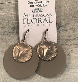 Brown Leather Metal Earrings
