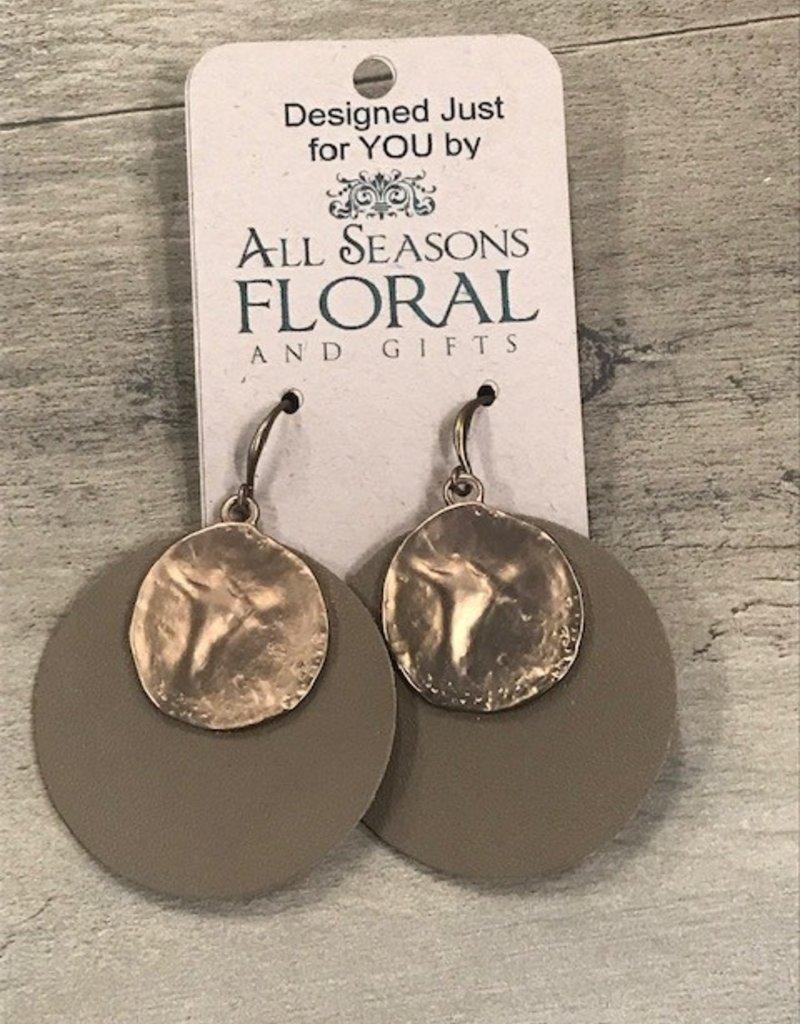 Brown Leather Metal Earrings