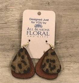 Earring, Leather double teardrop