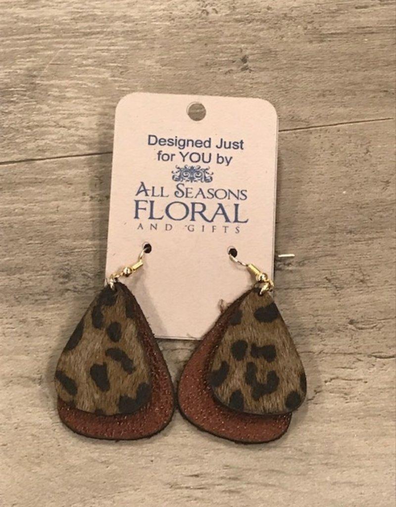 Earring, Leather double teardrop