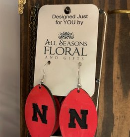 "Football """"N"" Leather Earring"