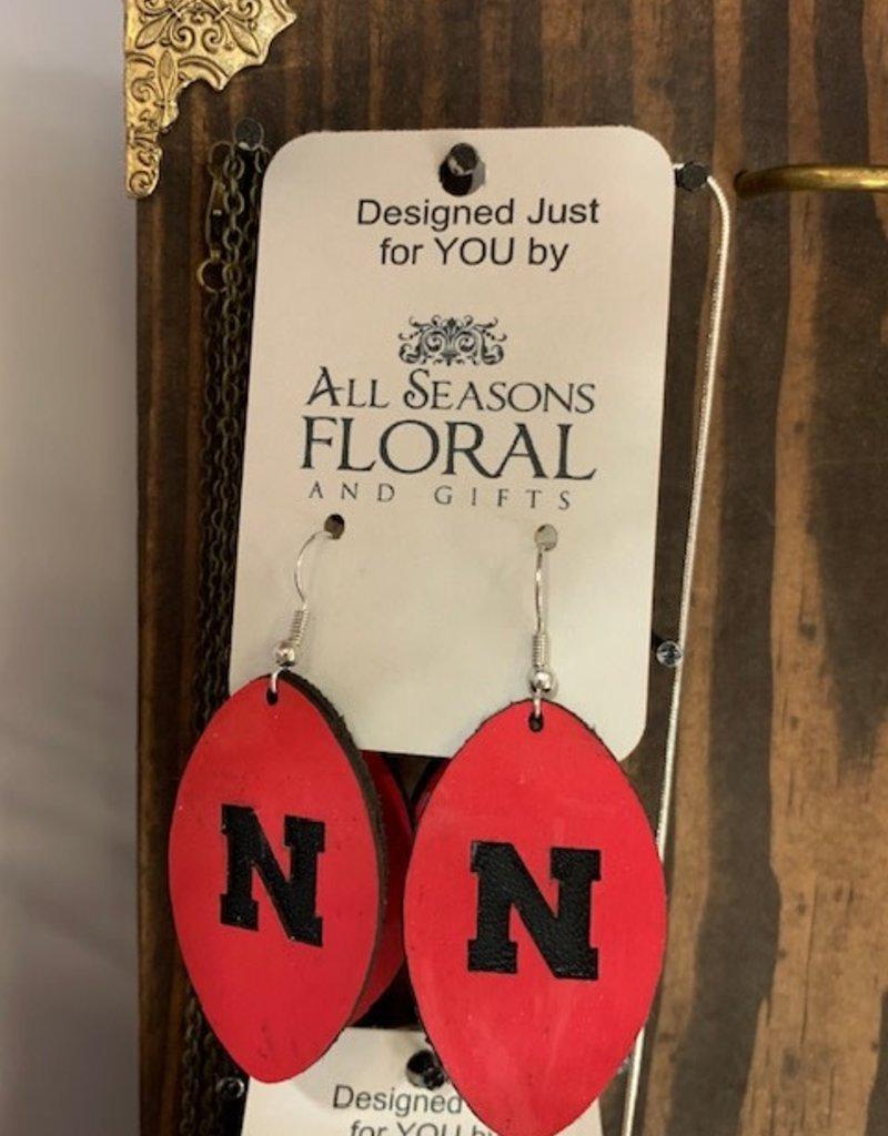 "Football """"N"" Leather Earring"