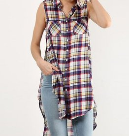 Plaid Long Side Slit Shirt