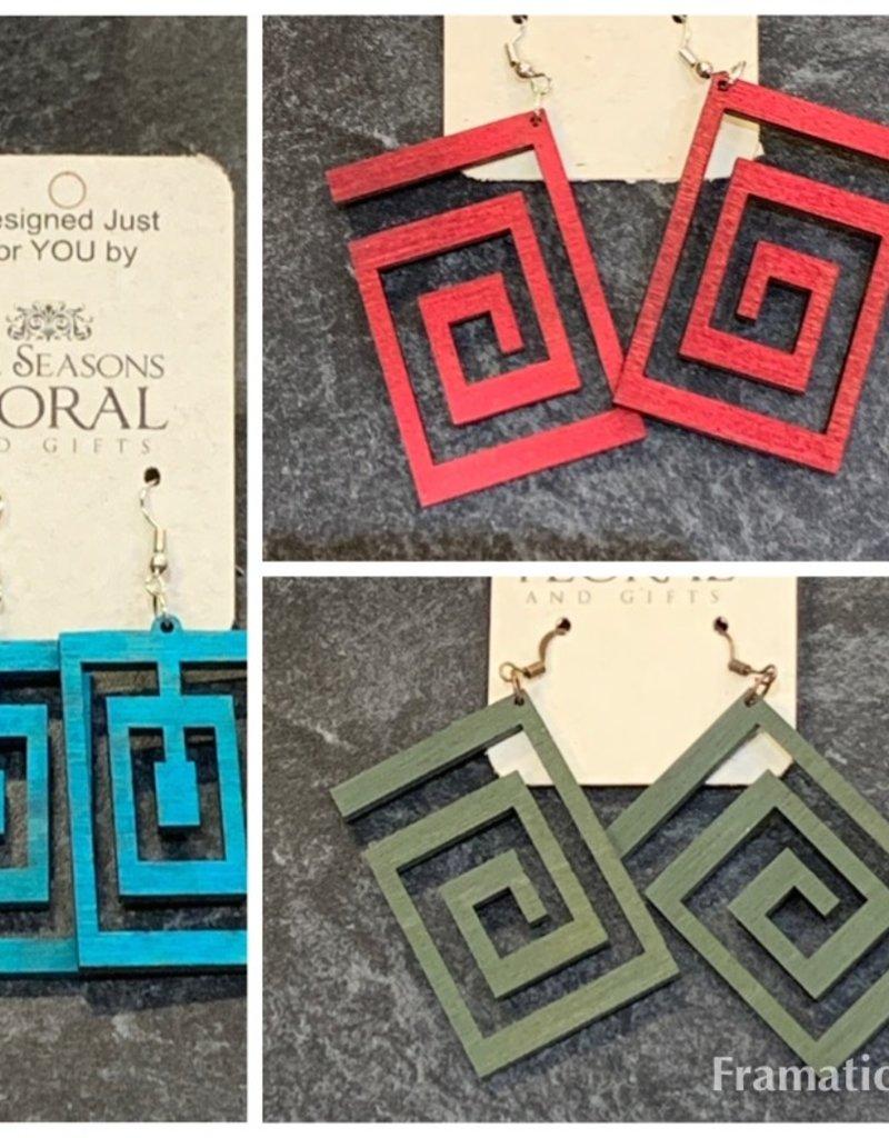wooden maze earring
