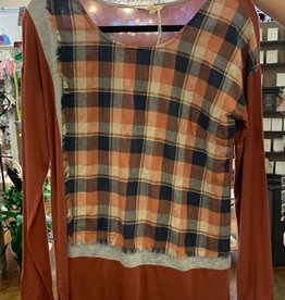 Rust Woven Plaid Panel Jersey Top