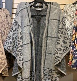 Gray Plaid & Leopard Kimono