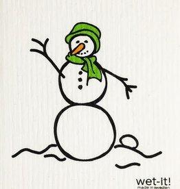 Snowman Green Swedish Cloth