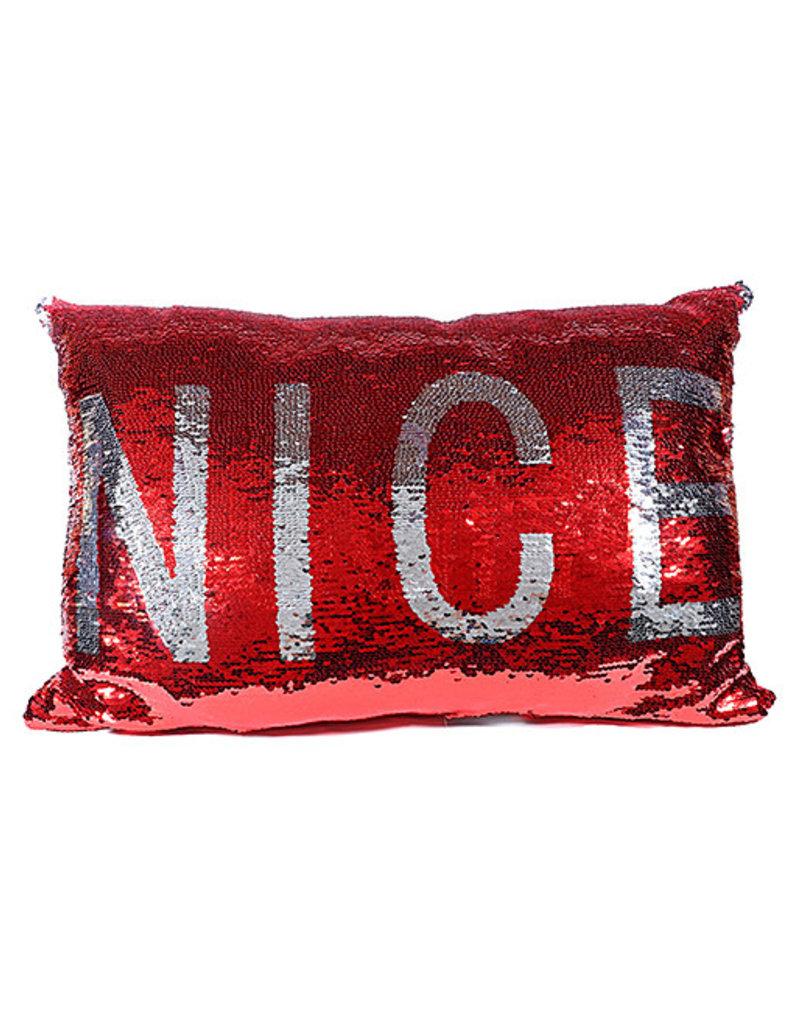 Naughty/Nice Sequin Pillow