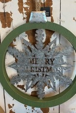 Wood Holiday Ornament with Metal, Asst