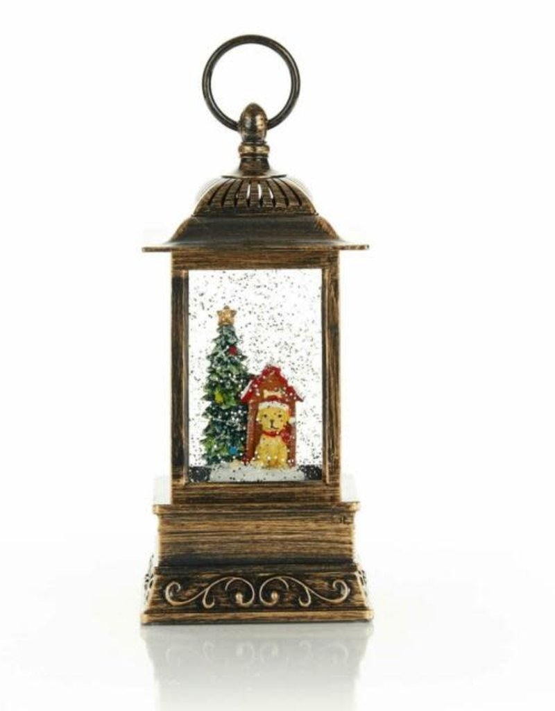 Holiday Glitter Lantern Pup with Sled