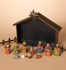 Resin Nativity in Red Set of 11