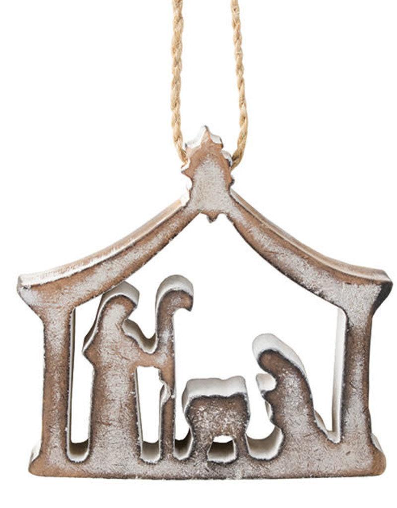 White Wood Nativity Ornament