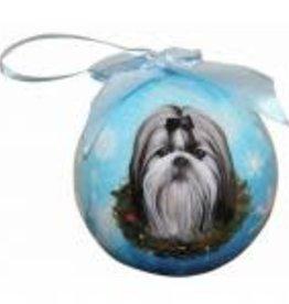 Shih Tzu, Black & White Puppy Cut Ornament